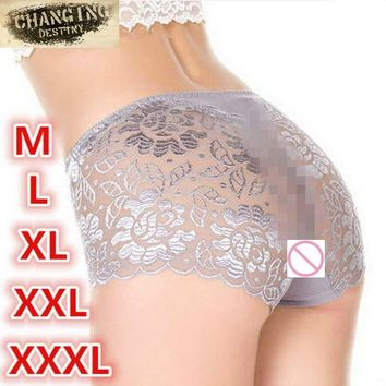 Women XXXL Underwear Briefs Transparent Lace Middle-Waisted Seamless Large String Plus Size Female Sexy Triangle Panties