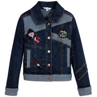 Little Marc Jacobs Girls Blue Denim Jacket with Patches (Mini-Me)