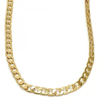 Gold Tone Basic Necklace, Curb Design, Gold Tone