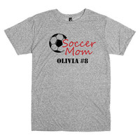 Soccer mom shirt.  Personalized with player's name and number.  Soccer ball.