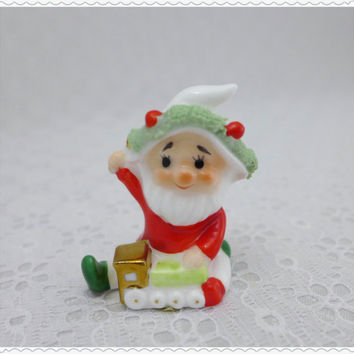 Miniature Christmas Elf Figurine, Vintage Napco, Napcoware, Bone China, Porcelain Figure, Spaghetti Trim, White Red Green, Santa's Toy Shop