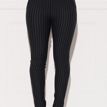 Rebecca Striped Pants - Black
