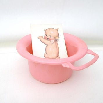 Vintage Chamber Pot / Potty with Handle / Retro Baby Potty Training – Pink Girls Nursery Decor