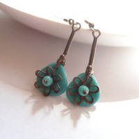Turquoise earrings, contemporary jewelry, beaded jewelry, copper wire earrings, dangle earrings, Little cute