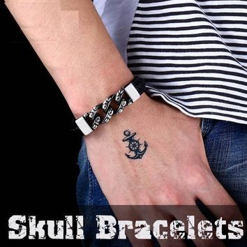 Punk Charm Bangle High Quality Chain Style Skull Leather Bracelet