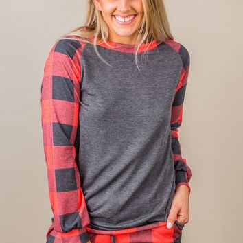 Walking On By Plaid Top- Red