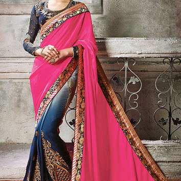 Pink and Shaded Blue Satin Embroidered Saree