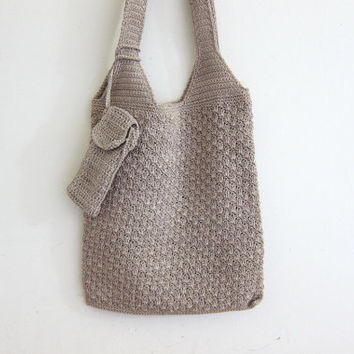 Vintage woven bag. shoulder bag purse. boho bag / crochet knit handbag