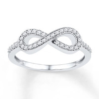 Diamond Infinity Ring 1/5 ct tw Round-cut Sterling Silver