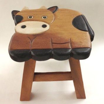 Cornelius the Cow Hand Carved and Hand Painted Wood Footstool for Children