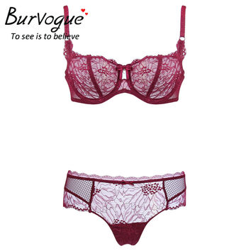 Burvogue Women Summer Lace Bra Sets Push Up Lingerie Panties Adjustable Bra Underwear Push Up Bra Sets Lingerie Sexy Hot Erotic