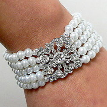Cream Wedding Bridal Bracelet SilverTone 5 Rows Of Cream Faux Pearl and Vintage