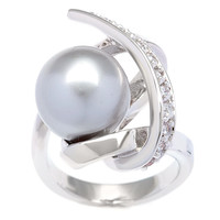 Kate Bissett Silvertone Grey Faux Pearl and Cubic Zirconia Fashion Ring | Overstock.com Shopping - The Best Deals on Cubic Zirconia Rings