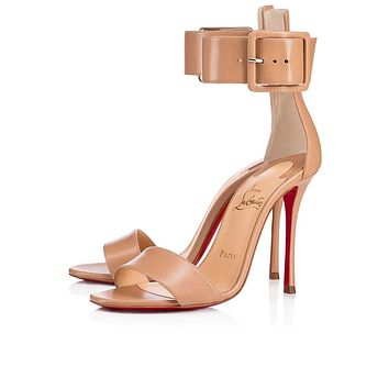 Christian Louboutin Cl Blade Runana Nude Leather 18s Sandals 1181077pk1a -