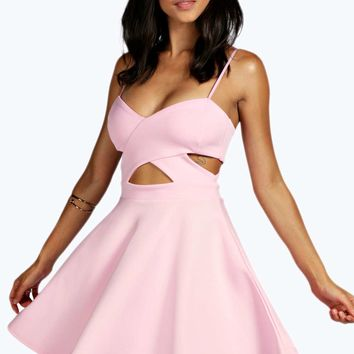 Erin Cut Out Side Strappy Skater Dress