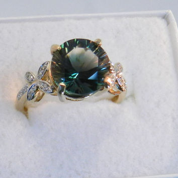 Oregon Sunstone and Diamonds Ring