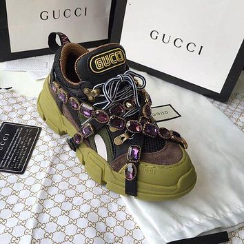 GUCCI Fashion Women Personality Purple Crystals Flashtrek Sport Shoes Sneaker Green I/A