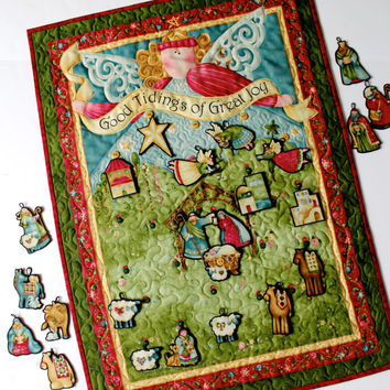 Advent Calendar Nativity Quilt  Angel Wall Hanging Religious