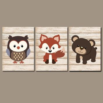 WOODLAND Animal Wall Art, Boy Woodland Nursery Decor, CANVAS or Prints, Fox Owl Bear, Shiplap Wood Effect, Forest Animals,  Set of 3 Decor