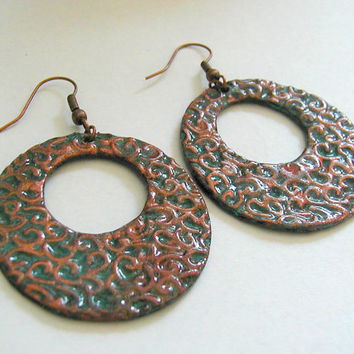 Patterned Copper Patina Go Go Hoop Earrings~Polymer Clay Earrings~ Large Hoop Earrings~ Hippie Earrings~ Boho Earrings~ Dangle Hoop Earrings