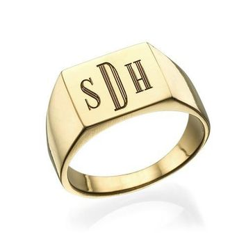 personalized men signet ring Monogram engraving custom ring men name initial ring gift jewelry for him birthday Christmas gift