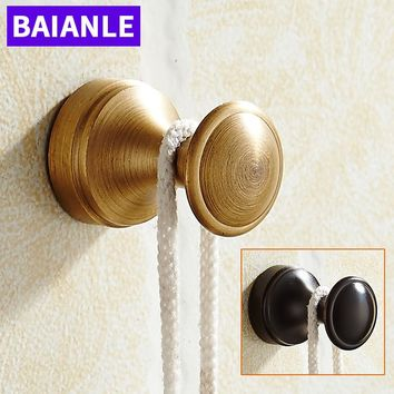 Wall Mounted Fashion Balck/Antique Brass Finished Bathroom Coat Clothes Single Robe Hook Kitchen Hanger bathroom Accessories