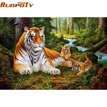 RUOPOTY Tigers Animals DIY Painting By Numbers Acrylic Picture Wall Art Canvas Painting Home Decor Unique Gift 40x50cm Artwork