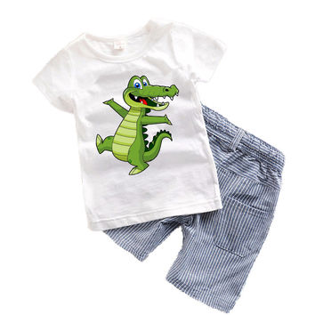 1-6 years Children Boys Clothes Summer Baby Boy Clothing Set Cartoon Animal Toddler Boys Clothing 2017 Kids Clothes Summer T6374
