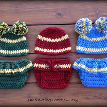 Crochet Newborn Photo Prop - Crochet Football Pattern - Cheer Diaper Cover and Hat Pattern - Football Baby