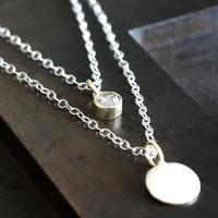 14k diamond layered necklace