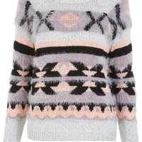 Aztec Fluffy Jumper - View All  - New In