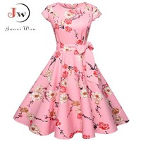 Women Summer Floral Dress 50s Vintage Casual Elegant Print O Neck Party Work Office Dress Retro Rockabilly Vestidos