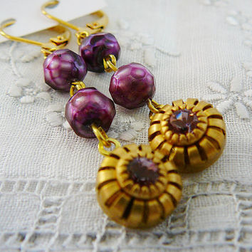 Earrings, Rhinestone Dangle Vintage Pale Amethyst purple freshwater pearls Brass