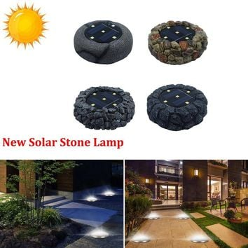 NEW 5 LED Solar Outdoor Ground Stone 1 Lamp IP65 Waterproof Resin Landscape Lawn Yard Stair Night Light Home Garden Decoration