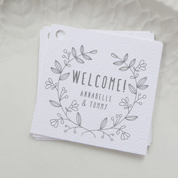 Welcome Bag Tag, Gray Wedding Favor Label, Personalized Gift Tags, Square Thank You Shower, Gift Bag, Custom Label, Other Colors - Set of 20
