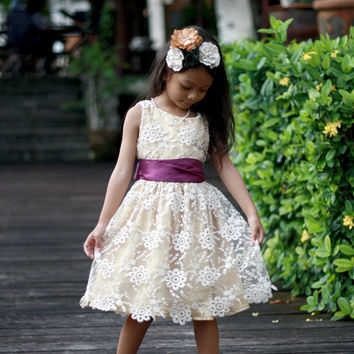 Lace flower girl dress, Rustic girls dress, champagne lace Dress, Girl party dress, choose your sash color
