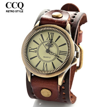 New Unisex Vintage Punk with Wide Leather Band Big Dial Watch Bracelet Wrist Watch for Women Men