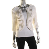 Catherine Malandrino Womens Knit Open Front Cardigan Sweater