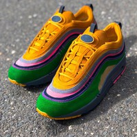 NIKE Air Max 97 Vintage Corduroy Rainbow Woman Men Sneakers B-CSXY Colorful Stripe