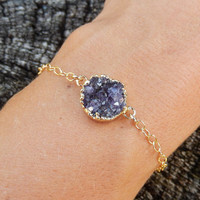 Petite Purple Amethyst Druzy Bracelet Gold Filled Chain Raw Cluster Rock Drusy Small Round Circle Crystal 24K Gold Free Shipping Jewelry