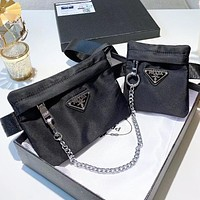 Prada Fashion new solid color shoulder bag couple crossbody bag bust waist bag two piece suit Black