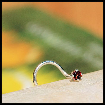 2mm Garnet Nose Stud set in sterling silver - CUSTOMIZE