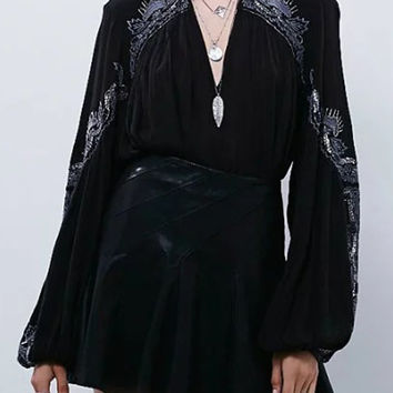 Black Embroidery High Neck Plunge Front Blouson Sleeves Blouse