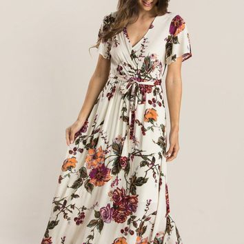 Bethany Beige Floral Wrap Maxi Dress