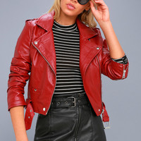 Moto Babe Black Vegan Leather Belted Mini Skirt