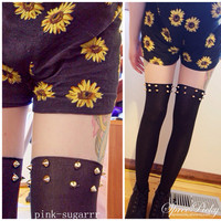 {Buy 2 Get 3}Harajuku Fashion Sexy Riveting Fake Over Knee Tights Free Shipping SP140375 from SpreePicky