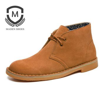New fashion male real leather boots Martin travel men work Tooling  desert boots men boots