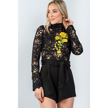 Ladies fashion high neck long sleeves floral embroidered crochet belted romper
