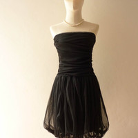 Vintage Inspired- Tutu Pretty Pumpkin Skirt Cocktail Dress in Gorgeous Black so Easy to Wear Fit S/M