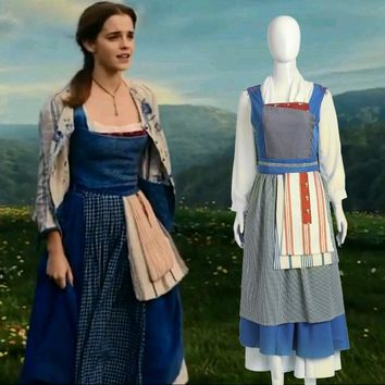 Adult Princess Belle Blue Dress Costume Halloween Southern Beauty And The Beast Belle Maid Fancy Dress Cosplay Costume For Women